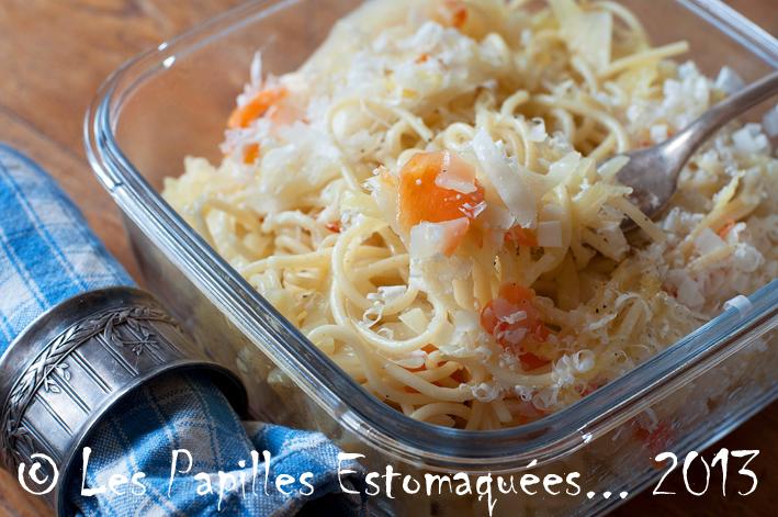 Pates au chou et carottes