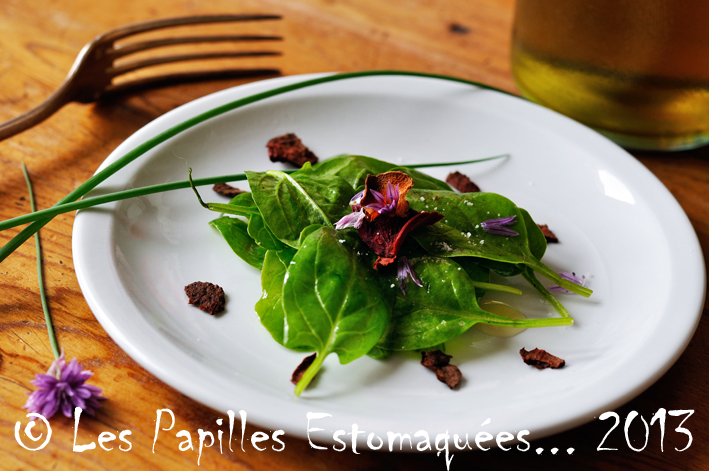Salade epinards chips legumes et ciboulette