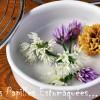 Tempuras de fleurs de ciboulette et ail des ours à l'orange et au thym
