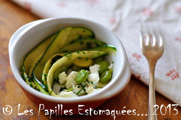 Salade courgette ciboulette feves et feta 01