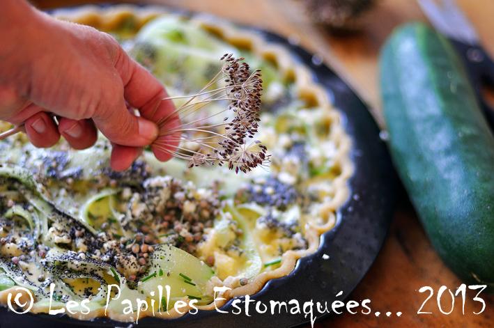 Tarte concombre feta roquefort pavot aneth ciboulette fleur 03