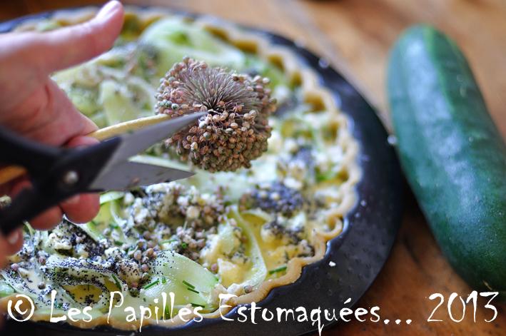 Tarte concombre feta roquefort pavot aneth ciboulette fleur 04