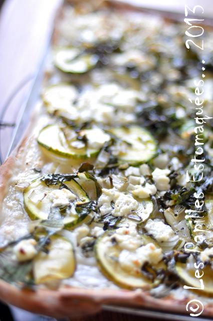 Pizza courgette oignon bette chevre 03