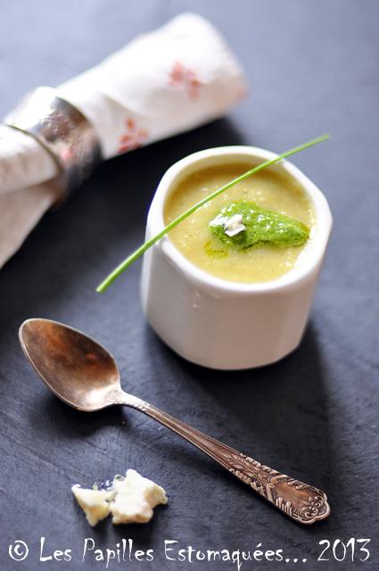 Soupe de patisson corgette ciboulette roquefort