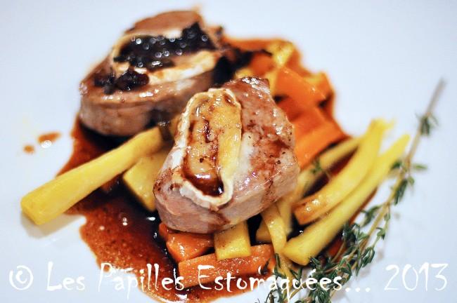 filet porc au chevre sur legumes racine