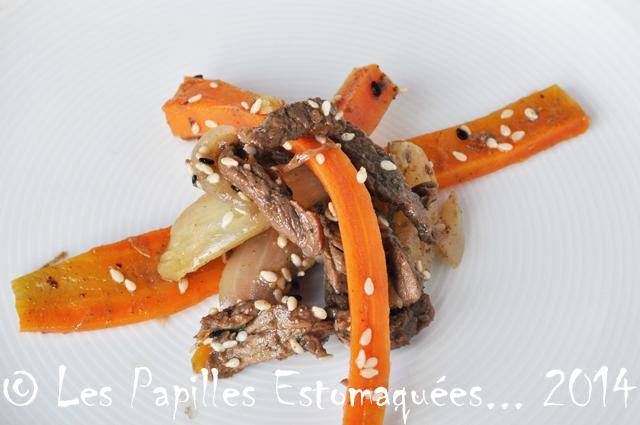 Wok boeuf carottes gingembre oignon 01