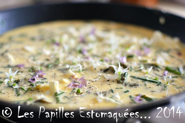 Omelette oseille feta tomates ail des ours et ciboulette