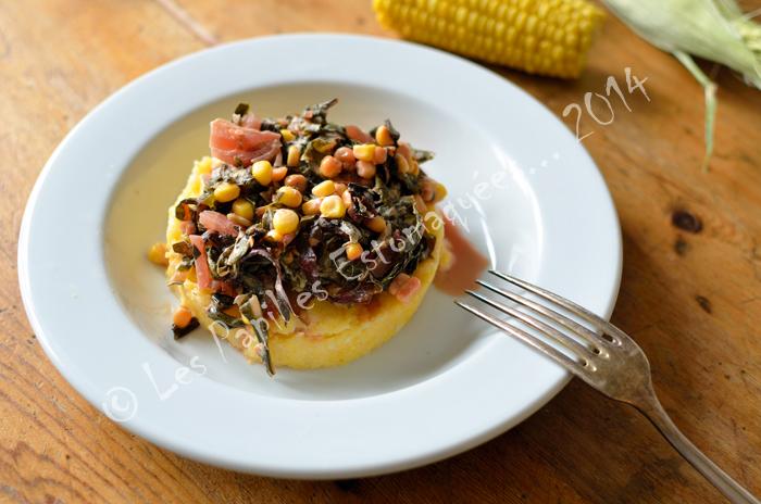Poelee bettes au mais et polenta au fromage de brebis