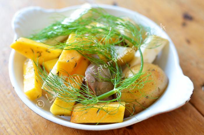 Texas indian celeri pommes de terre fenouil roti gesiers canard confit 02