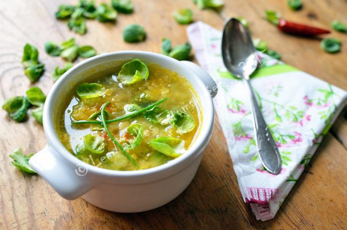 Soupe choux bruxelles courge flocons de pois chiche 04